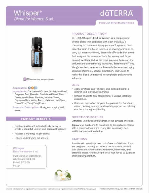 doTERRA Whisper Product Information Page