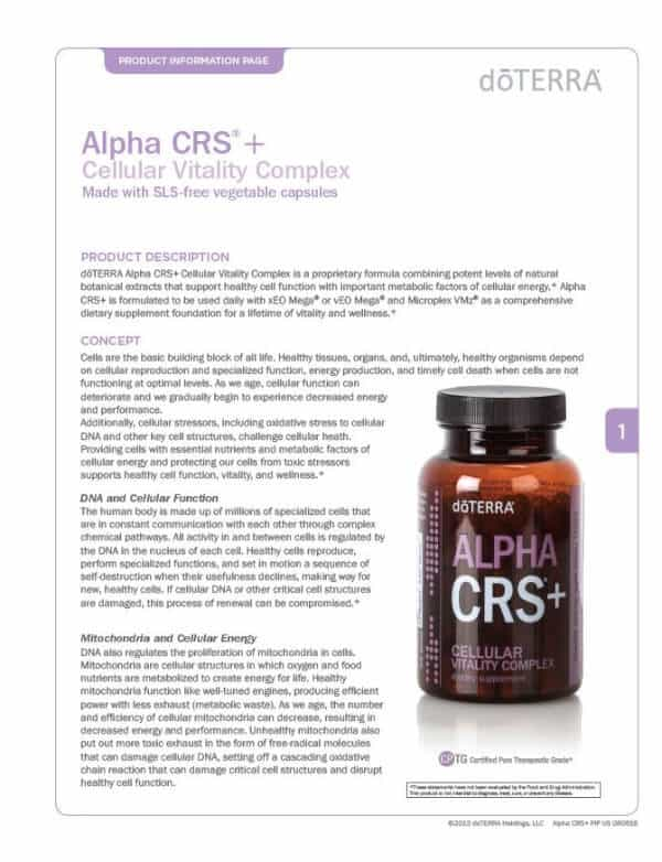 doTERRA Alpha CRS+ Product Information Page