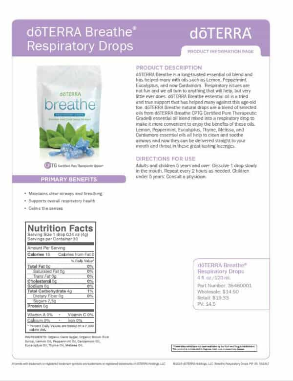 doTERRA Breathe Respiratory Drops Product Information Page