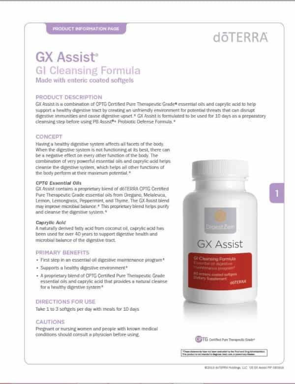 doTERRA GX Assist Product Information Page
