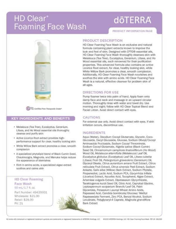 doTERRA HD Clear Foaming Face Wash Product Information Page