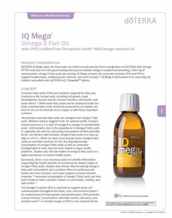 doTERRA IQ Mega Product Information Page