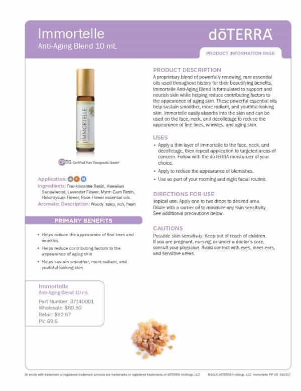 doTERRA Immortelle Product Information Page