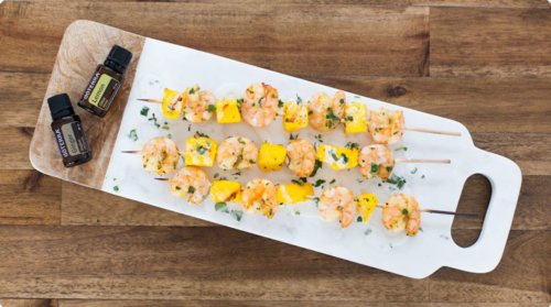 doTERRA Ginger Shrimp and Mango Skewers